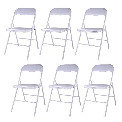 JAXPETY New Set of 6 PCS Plastic Folding Chairs Wedding Party Event Chair Commercial White w/Soft Cushion (Folding Cushion Chairs)
