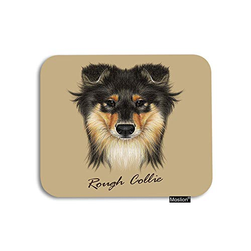 Moslion Dog Mouse Pad Cute Collie Face of Mahogany Sable Rough Collie Or Shetland Sheepdog Gaming Mouse Pad Rubber Large Mousepad for Computer Desk Laptop Office Work 7.9x9.5 Inch Brown