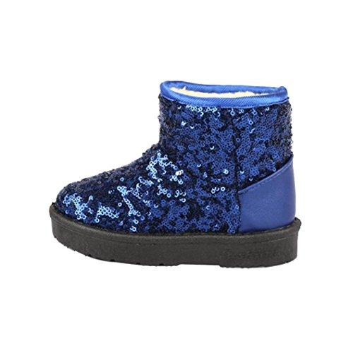 Transer® Babyschuh Sequins Stiefel Kleinkind Kinder Mädchen Casual Warm Weiches Kunstleder Herbst Dick Warm Winter Schnee Schuhe Lauflernschuhe Blau