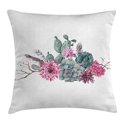 """Ambesonne Succulent Throw Pillow Cushion Cover, Feathers Flowers Cacti Hipster Elements Vintage Fashion, Decorative Square Accent Pillow Case, 20"""" X 20"""", Green Pink"""
