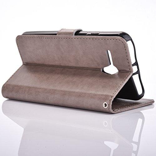 Ecoway Para Alcatel One Touch Pop 3 (5.5 Zoll) Funda, (Púrpura ) Gofrado Cuero de la PU Leather Cubierta ,Función de Soporte Billetera con Tapa para Tarjetas Soporte para Teléfono gris