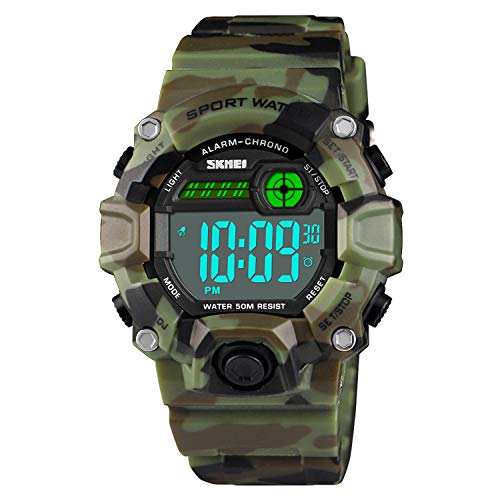 Boys Camouflage LED Sport Watch,Waterproof Digital Electronic Casual Military Wrist Kids Sports Watch with Silicone Band Luminous Alarm Stopwatch ()