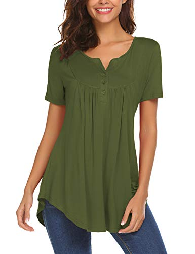 - Summer Tunic Tops for Leggings for Women Short Sleeve Henley Shirts Pleated Flowy Blouse Dressy Top Army Green XL