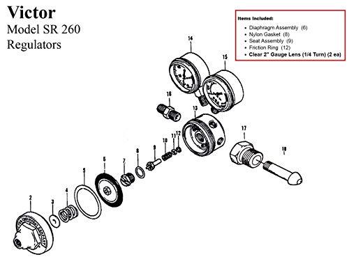 Victor SR260A Acetylene Regulator Rebuild/Repair Parts Kit w/Diaphagm 0790-0051