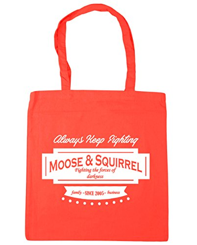 HippoWarehouse Moose & Squirrel Family Business Since 2005 Tote Shopping Gym Beach Bag 42cm x38cm, 10 litres Coral