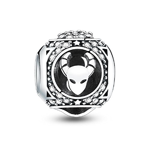 Glamulet 12 Horoscope Zodiac Sign 925 Sterling Silver Charms Fit for Bracelet, Ideal Women's Gift
