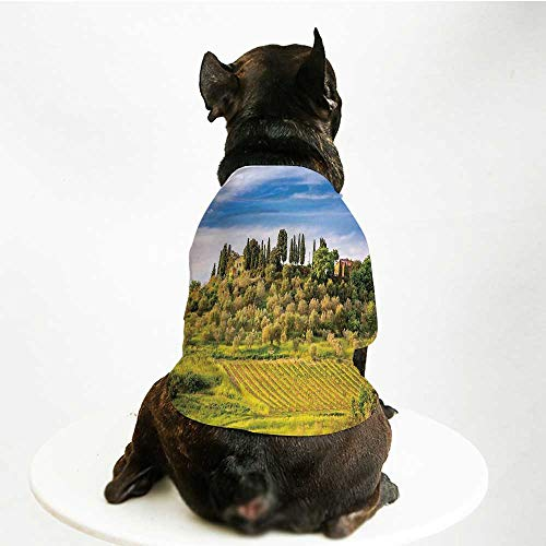 YOLIYANA Tuscan Breathable Pet Suit,Green Field Tranquil Landscape Retro Stone Toscana Farmhouse Vineyard for Small Dog Teddy Chihuahua Bichon,L