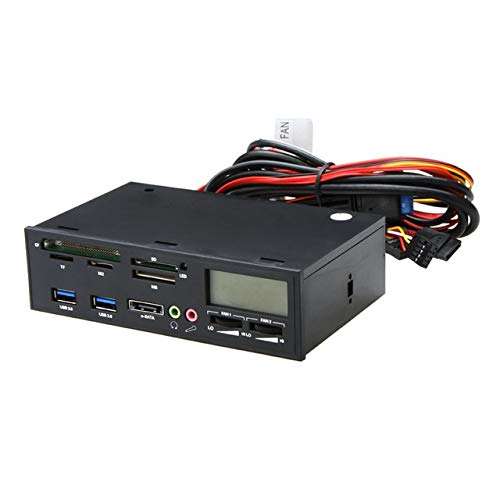 """Connectors 5.25"""" USB 3.0 e-SATA All-in-1 PC Media Dashboard Multi-Function Front Panel Card Reader I/O Ports - (Cable Length: As described, Color: Black)"""