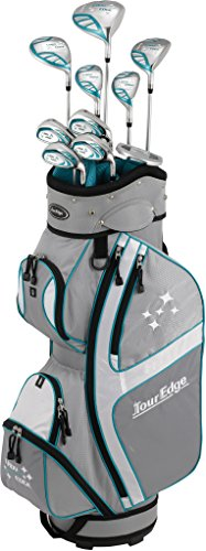 Tour Edge Lady Edge Golf Complete Package Set (Ladies, Right Hand, Graphite, Ladies, Full Set), Silver/ Teal, Full Set ()