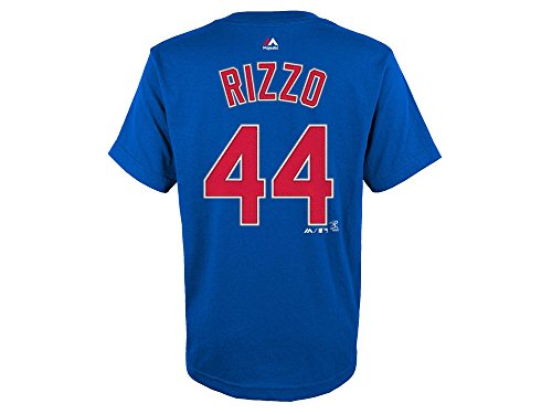 Majestic Anthony Rizzo Youth Chicago Cubs Blue Name and Number Jersey T-Shirt (Youth Large 14/16)