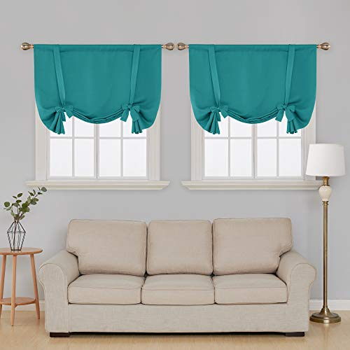 Deconovo Teal Blackout Curtains Rod Pocket Blackout Drapes Room Darkening Curtains for Living Room Turquoise/Teal 42W x 63L 2 Panels