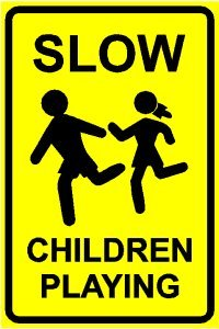 Amazon.com: SLOW CHILDREN PLAYING yellow street sign: Home