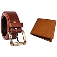 MBTEES Men's Combo of Leather Belt's and Wallet (Multicolour)