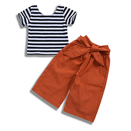 Toddler Infant Baby Girls Summer 2Pcs Stripe Short Sleeve T-Shirt Top Bow Tie Wide Leg Pants Clothes Set (Brownness, 12-18 Months)