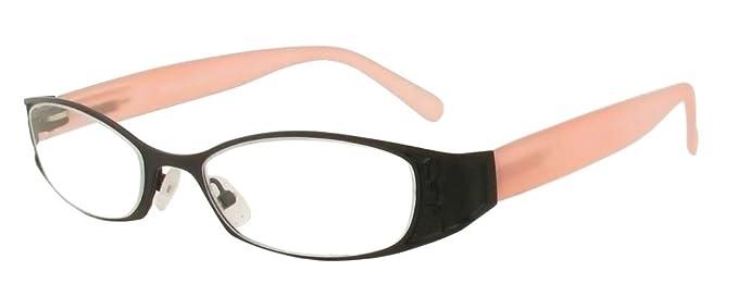 5588e88a9a Amazon.com  Cinzia Frost Designer Reading Glasses in Black-Pink   + ...