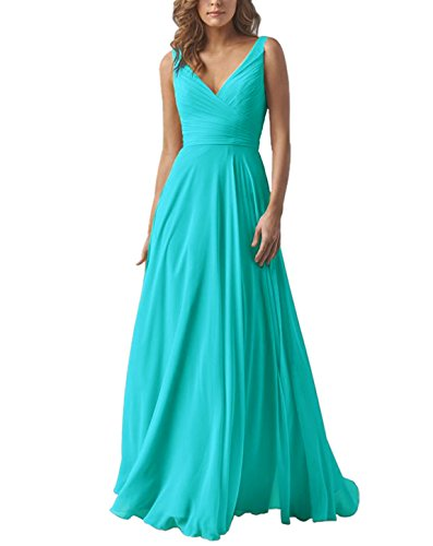 Yilis Double V Neck Elegant Long Bridesmaid Dress Chiffon Wedding Evening Dress Turquoise US6