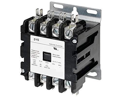 4 Pole, 40 Amps, 24VAC Coil, Definite Purpose Contactor, HVAC, Lighting, Refrigeration, Motor Control, 40A, 50A