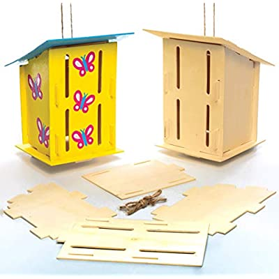 Baker Ross AC811 Wooden Butterfly House Kits, Perfect for Children to Design and Decorate, Ideal for School Work, Home, Craft Group Tasks and More (Pack of 2), 17cm: Arts, Crafts & Sewing