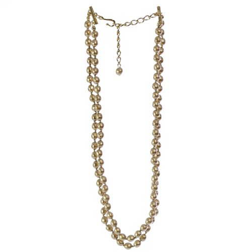 Victoria Creations Adjustable Double Strands Faux Golden Pearl Necklace