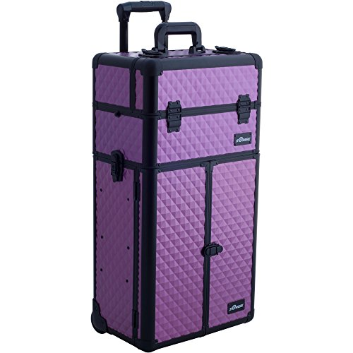 Sunrise Strozzi 2-In-1 Rolling Makeup Case Professional Nail Travel Organizer Box, Purple Diamond, 20 Pound by SunRise
