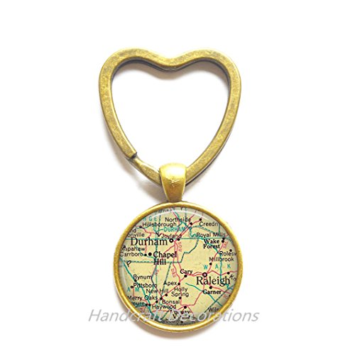 Charming Heart Keychain Raleigh, North Carolina map Key Ring, Durham map Key Ring, map jewelry, map Heart Keychain, A0082
