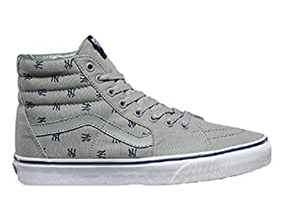 "Vans Men's ""Vans x MLB Yankees Sk8-Hi"" Heather Grey/Yankees Print Skateboard shoe (US 4)"