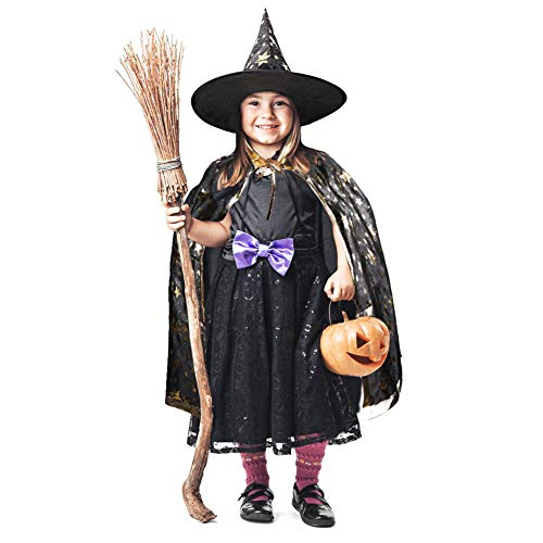 Halloween Christmas Witch Wizard Cosplay Costumes Set for Girls, Boys, Kids with Cloak, Hat, Headband ()