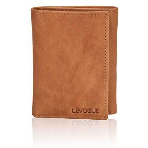 Genuine Leather Mens RFID Blocking Slim Trifold Wallet with 6 Cards+1 ID Window + 2 Note Compartments. (Brown Crazy Horse) (Tan Wash) (Beautiful Wallet)