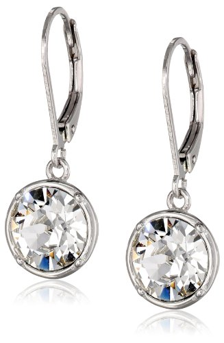 Sterling Silver White Round Leverback Dangle Earrings Made with Swarovski Crystal