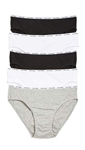 Calvin Klein Underwear Women's 5 Pack Bikini Briefs, Black/White/Grey Heather, Small