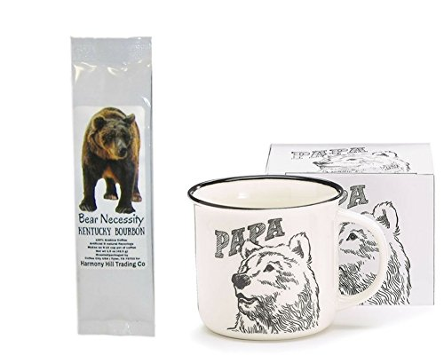 Papa Bear Coffee Mug Cup with Bear Necessity Kentucky Bourbon Flavored Coffee Gift Set 2 Item Father's Day Bundle