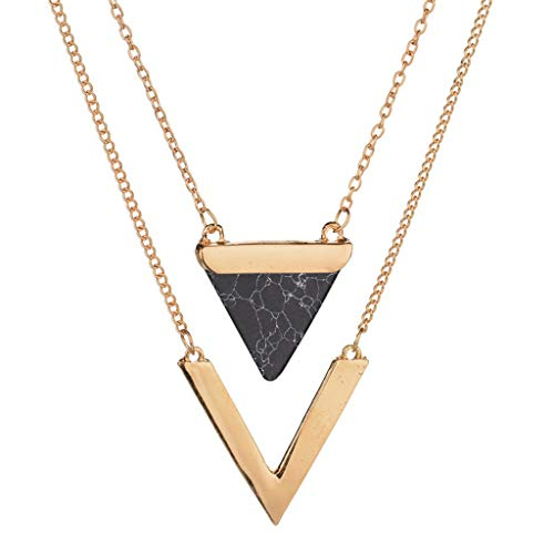 - Necklace Jewelry, Onefa 2019 New Turquoise Pendant Necklace V-Shaped Double Multi-Layer Clavicle Chain (Black)