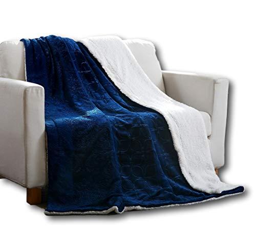 Tache 50x60 Embossed Super Soft Warm Cozy Fluffy Salid Night Dark Blue Flannel Micro Fleece Sherpa Back Throw Blanket