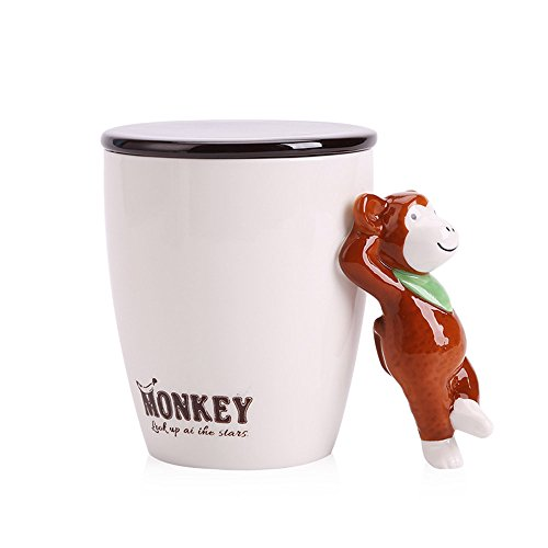 UPSTYLE 3D Cute Coffee Mug Monkey Office Milk Ceramic Cup Travel Mugs Tumbler with Lid and Animal Handle for Water Tea Funny Lovely Porcelain Cups-Best Gift,15oz (Monkey)