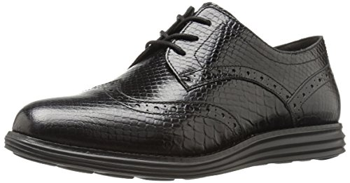 Cole Haan Women's Original Grand Wingtip Oxford,Black Snake Print Leather/Optic White,8 B (Black Snake Print Leather)