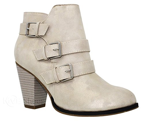 MVE Shoes Women's Mid Heel Ankle Bootie - Deco Triple Buckle Pointed Shoe - Side Zipper Ankle-High by Toys Champgn*c64