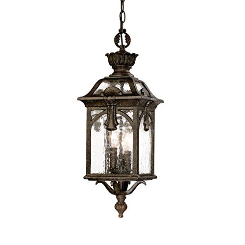 Acclaim 7116BC Belmont Collection 3-Light Outdoor Light Fixture Hanging Lantern, Black Coral