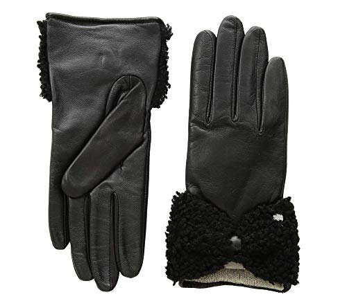 (UGG Women's Tech Leather Gloves with Sheepskin Bow Black MD)