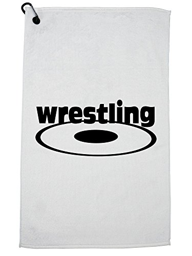 Hollywood Thread Trendy Wrestling with Wrestling Mat Golf Towel with Carabiner Clip by Hollywood Thread