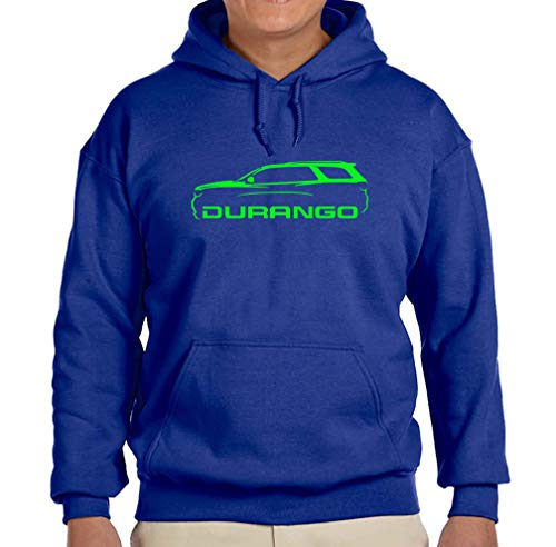 Dodge Durango SUV Classic Green Color Outline Design Hoodie Sweatshirt 2XL Royal