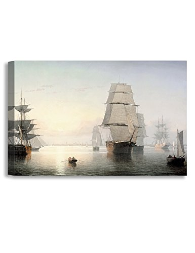 DECORARTS -Boston Harbor, Sunset, Fitz Henry Lane Classic Art Reproductions. Giclee Canvas Prints Wall Art for Home Decor 36x24 x1.5