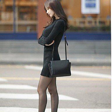 PU&PU Robe Aux femmes Gaine Simple,Couleur Pleine Col Arrondi Au dessus du genou Coton / Polyester , black , l
