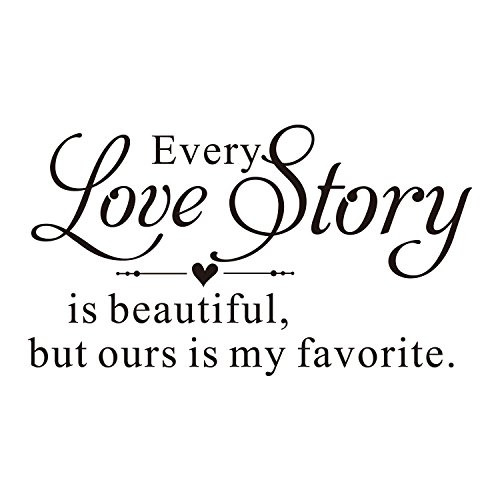 (ZSSZ Every Love Story is Beautiful, but Ours is My Favorite. Vinyl Wall Decal Hand Writing Heart Shape Wall Letters Sticker)