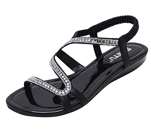 AGOWOO Synthetic Leather Strap Beaded Flat Beach Sandal For Women Black AEHhj