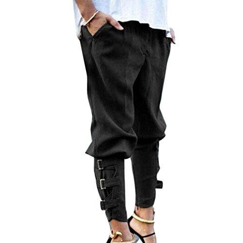 Yying Mujer Cintura Media Pantalones Harem Cómodo Cintura Elástico Pantalón con Bolsillos Moda Casual Pies Estrechos Leggings Pantalones Sueltos Tallas Grandes Negro