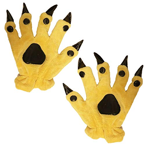 Honeystore Plush Animal Paw Claw Gloves Halloween Cosplay Costume Cartoon Mitten Earthy Yellow