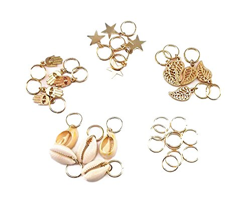 (yueton 30pcs Gold Ring Shell Hands Leaves Star Pendant Rings Set Hair Clip Headband Hair Accessories)