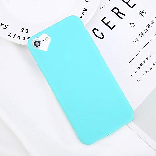 GOOGEE Fitted Cases - Phone Case for iPhone 6 6s 7 8 Plus 5 5s Fashion Candy Solid Color Love Heart Soft Silicone for iPhone 8 Phone Case - for iPhone 8_Green - You Bulk Cell Memo Fancy Harajuku P