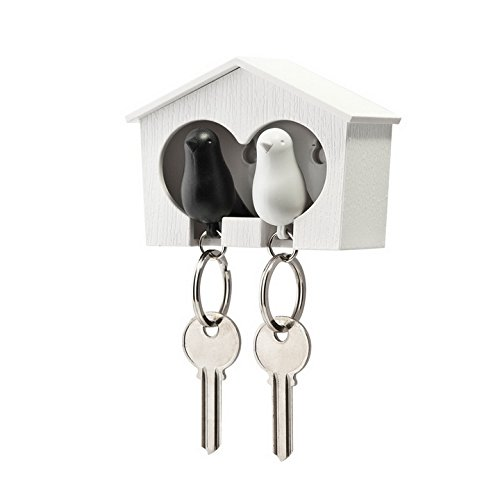 Bird House Shape Sorter (Duo Sparrow Key Holder by Qualy Design. Wall Mounted Bird House and Two Bird Key Fobs. Great Key Hook for Couple. Cool Gift for Her and Him. White Birdhouse. White and Black Keyring Birds.)