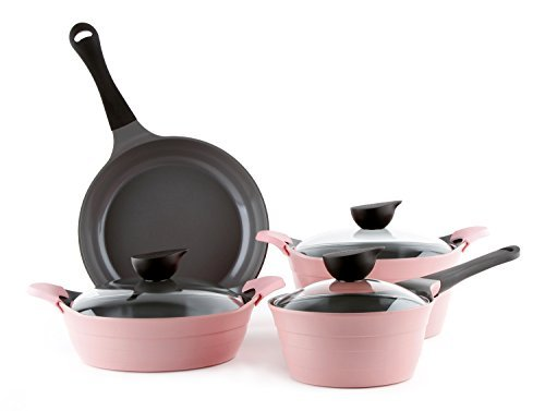 7 Piece Ceramic Nonstick Cookware Set in Pink by Neoflam